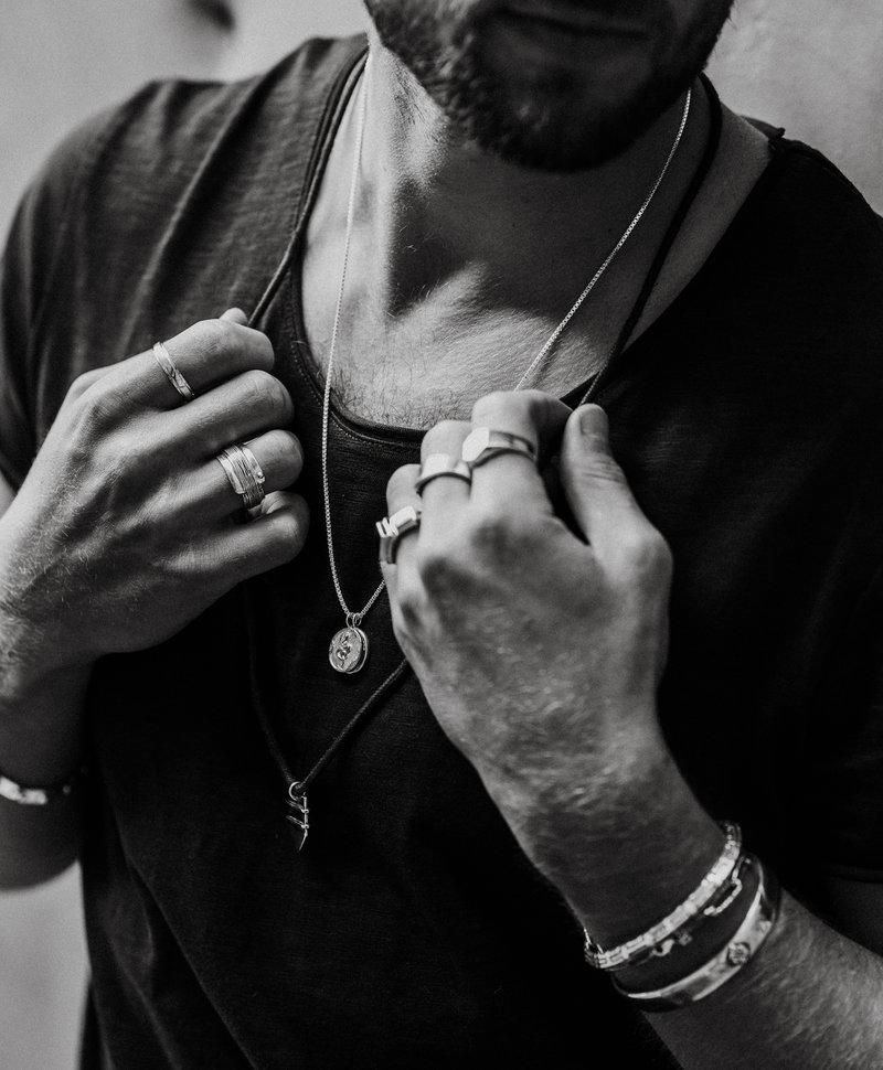 Zilveren Brede Mannen Ring Giùlan