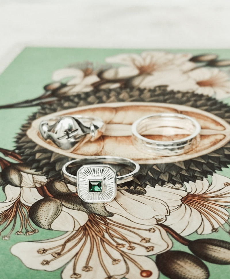 Green Quartz Ring Chak, Silver