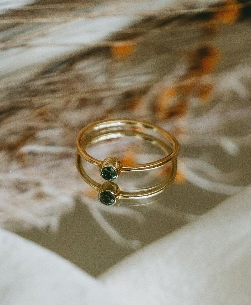 Stackable Green Crystal Ring Keala, Gold Plated