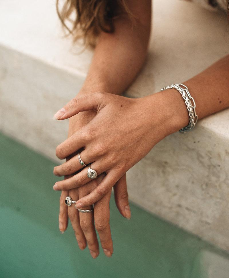 Stackable Snakeskin Ring Evka , Silver
