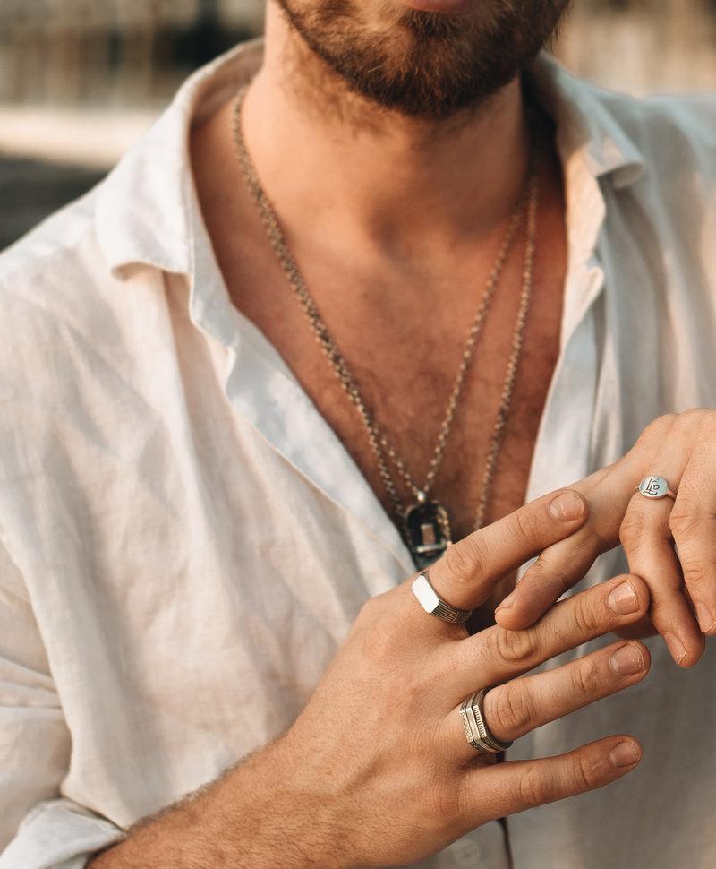 Zilveren Basic Mannen Ring Adad
