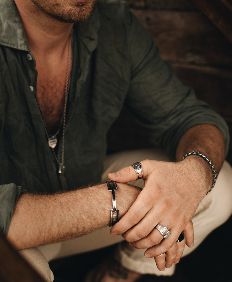 Zilveren Grove Cuff Armband Mannen Kumasi