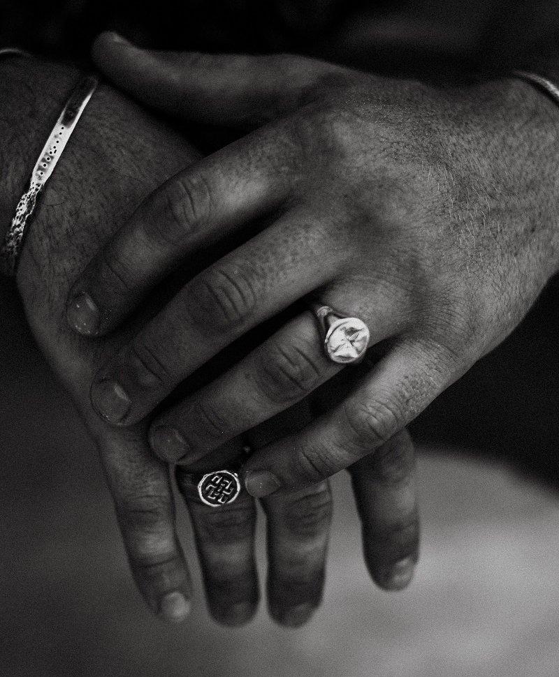 Zilveren Mannen Ring Met Brass Everest