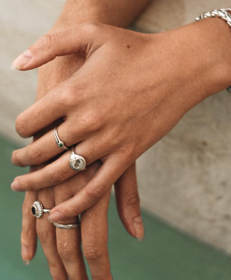 Stackable Green Crystal Ring Keala, Silver