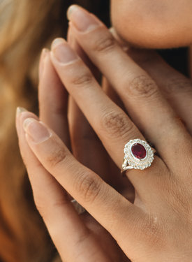 Pink Ruby Ring Persephone, Silver