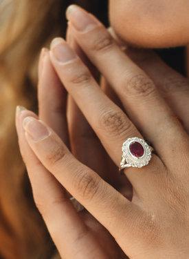 Zilveren Ring Met Roze Robijn Persephone