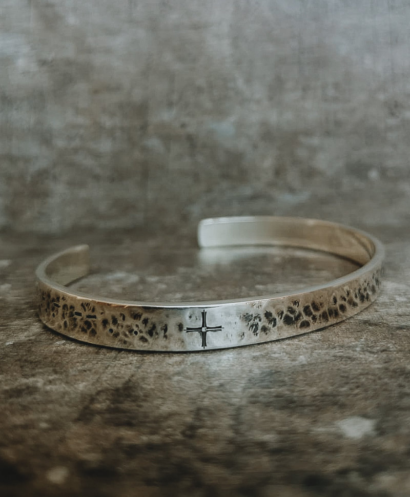 Zilveren Geslagen Cuff Armband Mannen Jebel