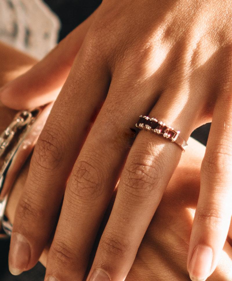 Red Garnet Ring Cassandra, Silver