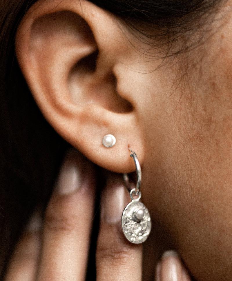 Single Vintage Pearl Earring Bela, Silver