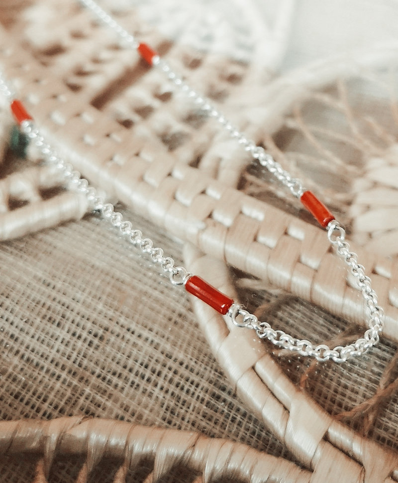 Coral Bead Necklace Rhea, Silver