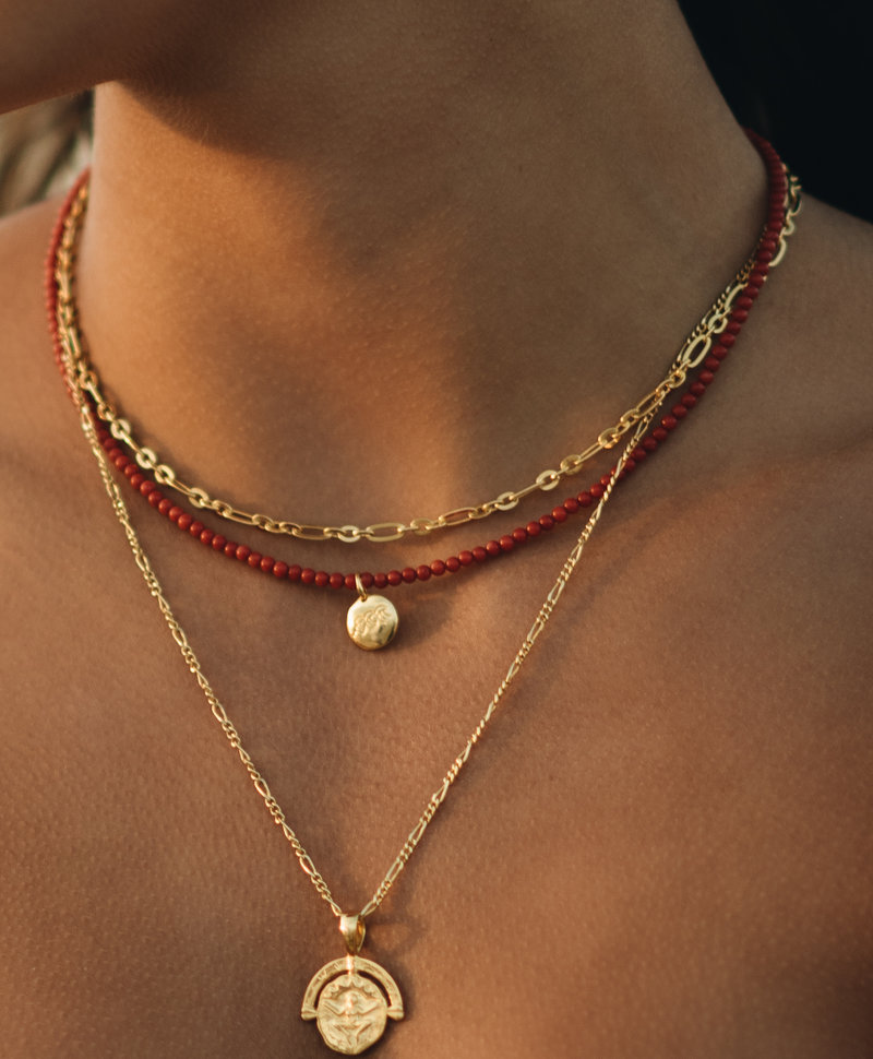 Red Coral Bead Necklace Electra, Gold Plated