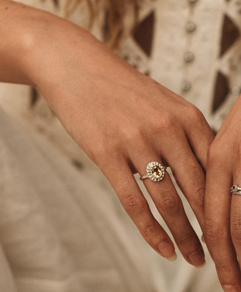 Yellow Citrine Ring Athena, Silver