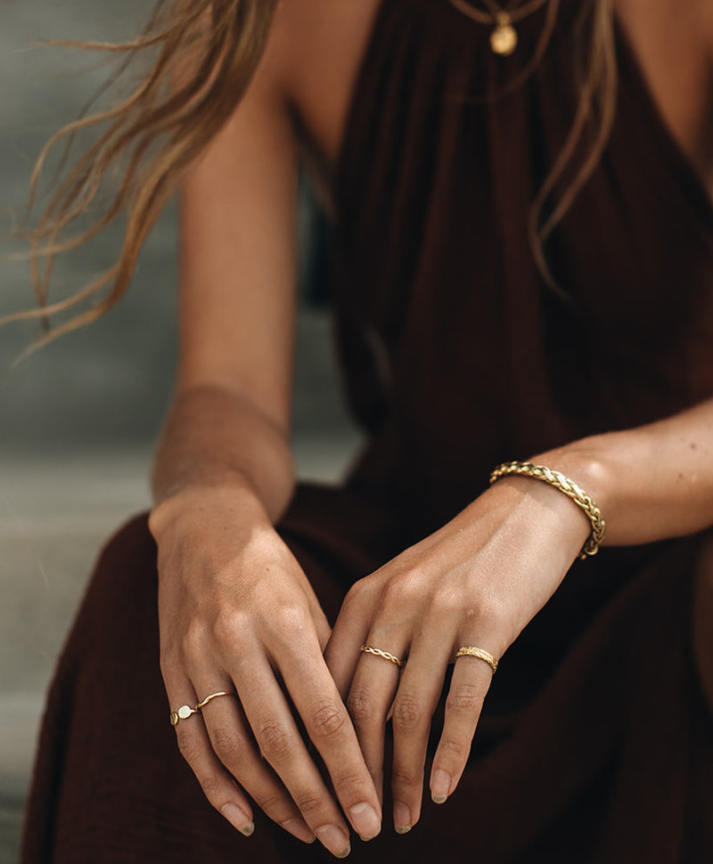 Square Stackable Ring Elgiva, Gold Plated