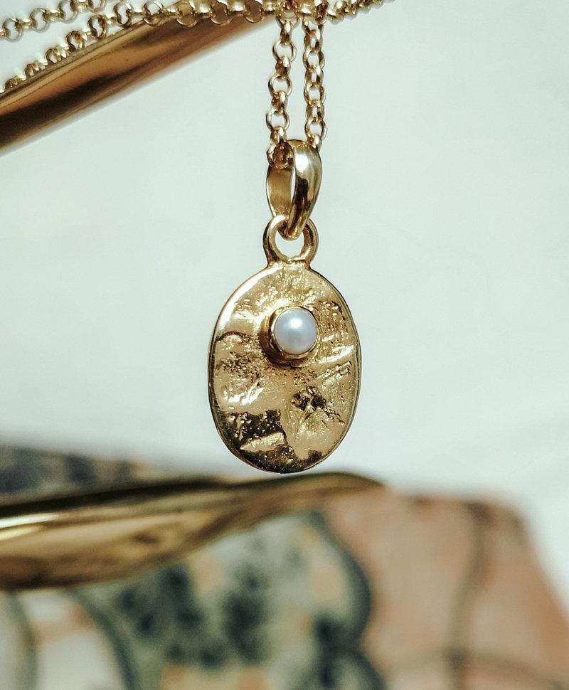 Vintage Pearl Pendant Bela, Gold Plated