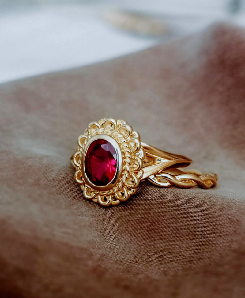 Pink Ruby Ring Persephone, Gold Plated