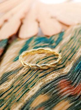 Gold Plated Gevlochten Pinkring Hera