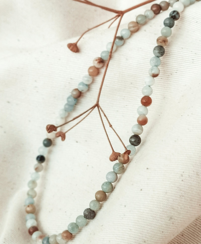 Earthy Mixed Agate Bead Necklace Echo, Silver