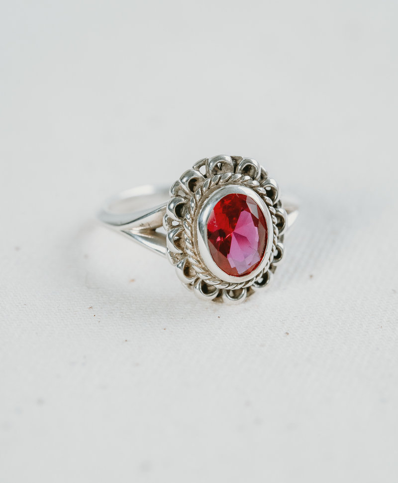 Pink Faceted Ring Persephone, Silver