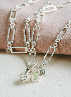 Jade Charm Necklace Penelope, Silver