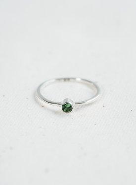 Zilveren Minimalistische Ring Met Groene Steen Keala
