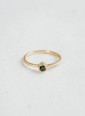 Gold Plated Minimalistische Ring Met Groene Steen Keala