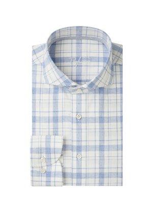Profuomo Recycled Geruit Overhemd Blauw