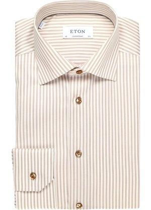 Eton Overhemd Ecru Gestreept