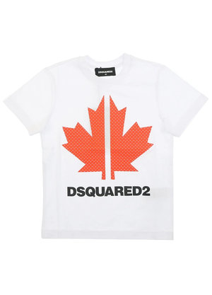 Dsquared2 Kids Relax Leaf T-Shirt Wit