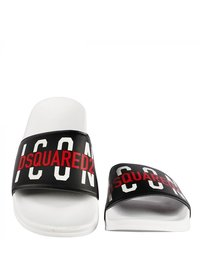 Dsquared2 Kids Dsquared Kids ICONS Slippers Wit Zwart dq0331 - p4137 h1532