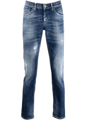 Dondup George Distressed Skinny Jeans Blauw