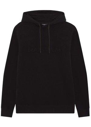 Ma.Strum Embossed Logo Hoodie Zwart