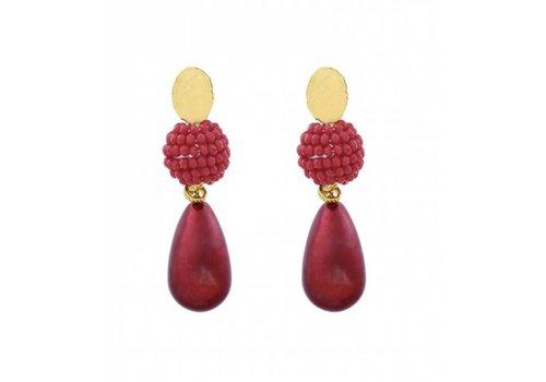 yehwang Oorbel pearldrop luxury rood