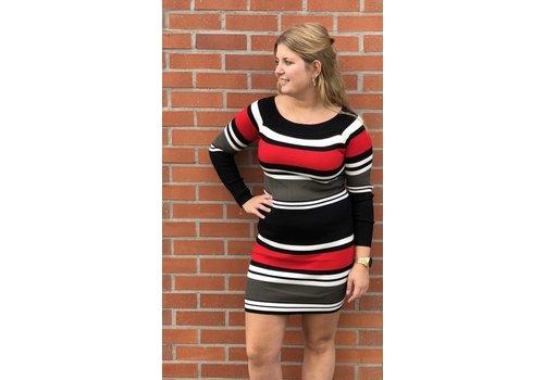 Clashy striped sweater dress - ONE SIZE