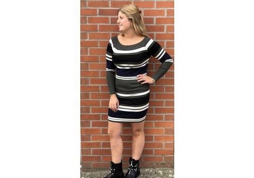 Clashy striped sweater dress groen - ONE SIZE