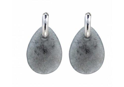 Clashy oorbellen stone paris zilver