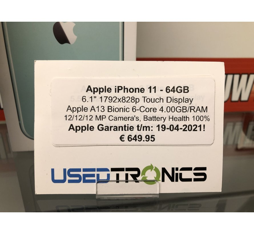 Apple iPhone 11 64GB - Green | Apple Garantie 19-4-2020 (5426)
