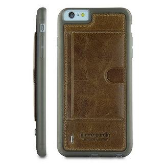 xlmobiel.nl Pierre Cardin Backcover hoesje Bruin - Stijlvol - Leer - iPhone 6/6S Plus  - Luxe cover