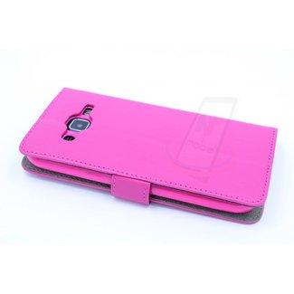 xlmobiel.nl Samsung Galaxy J2 (2016) Pasjeshouder Roze Booktype hoesje - Magneetsluiting