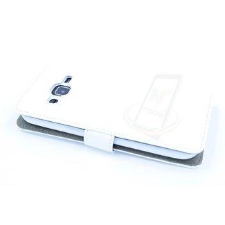 xlmobiel.nl Samsung Galaxy J2 (2016) Pasjeshouder Wit Booktype hoesje - Magneetsluiting