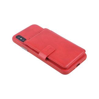 UNIQ Accessory UNIQ Accessory iPhone X-Xs Kunstleer Backcover hoesje met clip pasjeshouder - Rood
