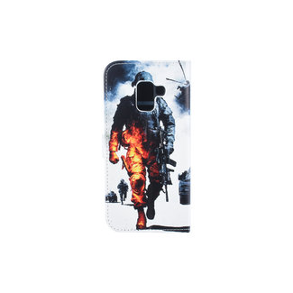 xlmobiel.nl Samsung Galaxy A8 (2018) Pasjeshouder Print Booktype hoesje - Magneetsluiting - Kunststof;TPU