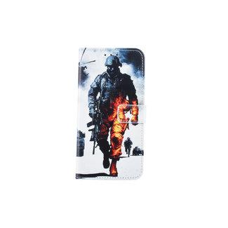 xlmobiel.nl Samsung Galaxy J6+ (2018) Pasjeshouder Print Booktype hoesje - Magneetsluiting - Kunststof;TPU