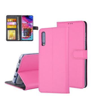 UNIQ Accessory Pasjeshouder Hot Pink Book Case voor Samsung Galaxy A70 -Magneetsluiting - Kunstleer