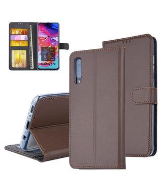 UNIQ Accessory Pasjeshouder Bruin Book Case voor Samsung Galaxy A70 -Magneetsluiting - Kunstleer