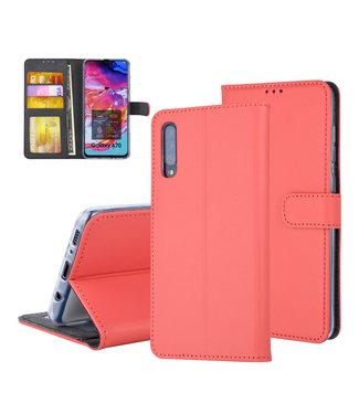 UNIQ Accessory Samsung Galaxy A70 Pasjeshouder Rood Booktype hoesje - Magneetsluiting - Kunststof;TPU