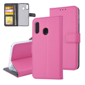 xlmobiel.nl Samsung Galaxy A20e Pasjeshouder Hot Pink Booktype hoesje - Magneetsluiting - Kunstleer; TPU