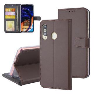 xlmobiel.nl Samsung Galaxy A60 Pasjeshouder Bruin Booktype hoesje - Magneetsluiting - Kunstleer; TPU