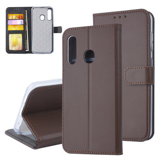 xlmobiel.nl Samsung Galaxy M40 Pasjeshouder Bruin Booktype hoesje - Magneetsluiting - Kunstleer; TPU