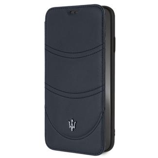 Maserati Originele Maserati booktype hoesje Granslusso voor Apple iPhone XS Max Navy - Book Case - Echt leer - Speciaal voor de iPhone XS Max