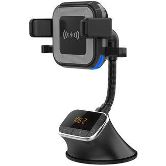 UNIQ Accessory Bluetooth FM Transmitter,  Autohouder en Draadloze Oplader - Zwart